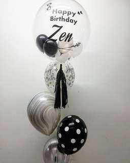 Customised balloon bouquet in classic black theme