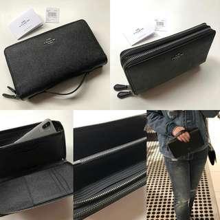 Coach Crossgrain Leather Double Zipper Travel Wallet(Black) Size 21x12cm (27 card-slots,fits 2 hp,passport slot)