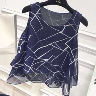 🚚 Navy Blue Marble Print Double-Layered Sleeveless Chiffon Top #PayDay30