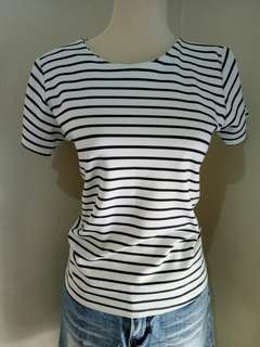 Striped Blouse with Back Zipper