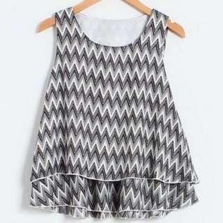 🚚 Black & White Geometric Printed Double-Layered Sleeveless Chiffon Top #PayDay30