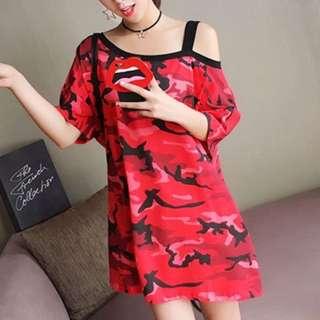 🚚 Red Cold Shoulder Short-Sleeved Loose Fit Long Top/ Dress #PayDay30