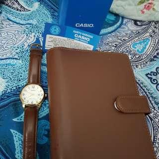 Jam tangan casio & book organizer