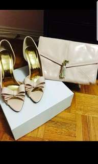 Blush colorheels and clutch