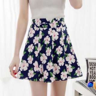 🚚 Dark Blue Floral A-Line Skirt With Safety Shorts #PayDay30