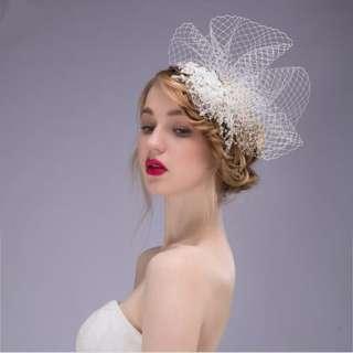 85% new 禮帽婚禮蕾絲頭花新娘頭飾 wedding accessories