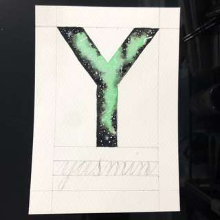 Watercolor Galaxy Letter Y (A6 sized postcard) - customise name