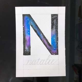Watercolor Galaxy Letter N (A6 sized postcard) - customise name