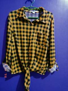 Knot crop top long sleeve checkered