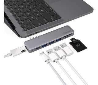 dodocool Hyperdrive 7 in 1 Spacegrey USB C hub adapter with HDMI & SD Card