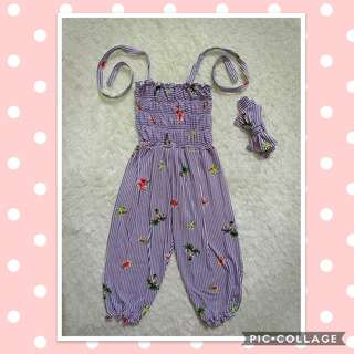 Ootd for lil girl (Jumpsuit Stripes)