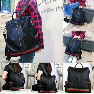 FREE ONGKIR GUCCI GD Lady Backpack Waterproof Parasut Hardware Black 5808*
