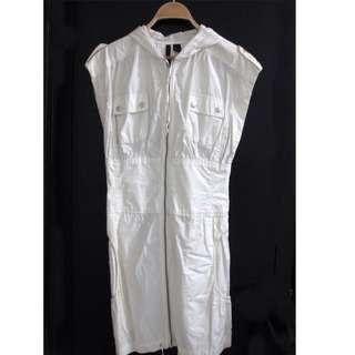 Mango White Sporty Sleeveless Dress