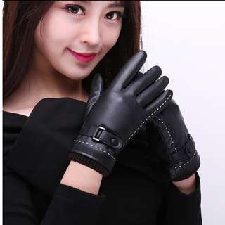 Women Winter Gloves Leather (able to touch phone screen)