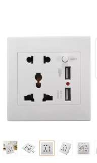 2.1A Dual USB Wall Charger Socket Adapter Universial Power Outlet Panel w/Switch - intl