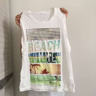Beach Print Sleeveless Top