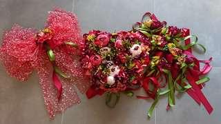 結婚物資 / prewedding / 結婚主花車裝飾全套 絲花 紅色