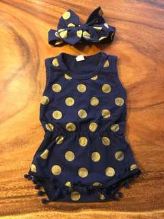Baby girl romper and bow set