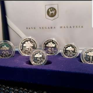 Malaysia 1992 silver proof coin set 6 with certificate