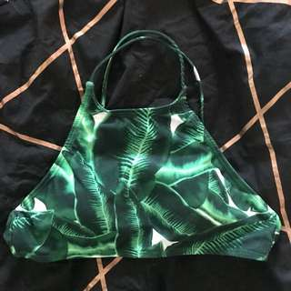 Palm leave print bikini top