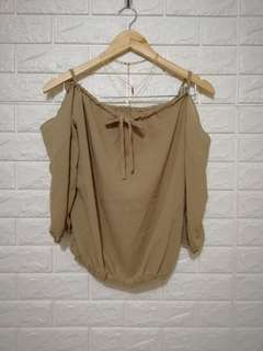 Light brown cold shoulder top thin fabric