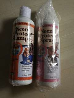 Flea and tick neem shampoo and spray for dogs and cats