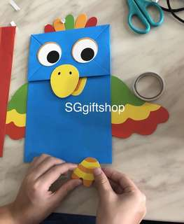 Colorful bird DIY Art and craft hand puppet - party activity, goody bag, goodies bag packages