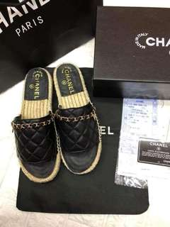 Chanel Lambskin Quilting Chain Mules Espadrilles