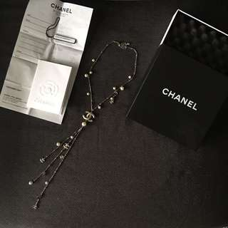 Chanel Pearl And Crystals Necklace Gold Tone 11C