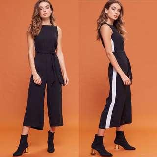 VL5424 New Miss valley black side contrast midi jumpsuit