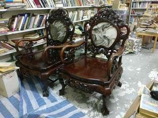 花梨木椅兩張
