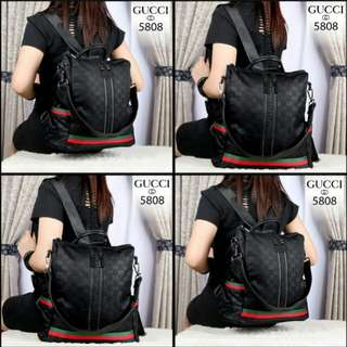 FREE ONGKIR GUCCI GD Lady Backpack Waterproof Parasut Hardware Black 5808*