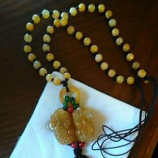 🚚 緬甸黃玉貔貅長項鍊
