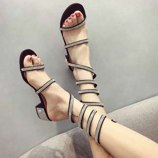 Glittering wrap around snake crystal sandals
