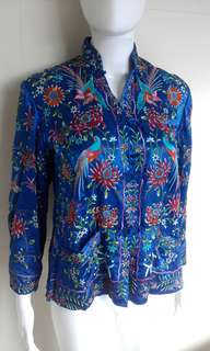 Silk embroidered jacket S royal blue