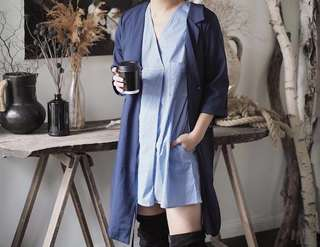 This is April blue stripes dress