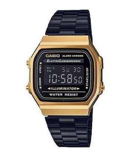 PRE-ORDER Casio Vintage A168WEGB-1B Black Stainless Steel Watch