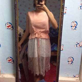 Peach dress with lace