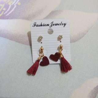 Red Heart Tassel Stud Earring Earrings Anting Tusuk Hati Merah #mausupreme