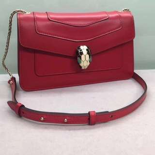 Bvlgari Red 蛇頭袋 Size:22  x 12 x 4cm Real and New Full Set
