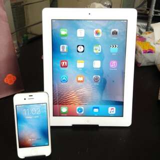 iphone  4s  16 gb and  ipad 2 16 gb  Apple essential set with front and rear cameras, chargers and headsets. Can download Facebook, messenger, viber, line, Skype and more.