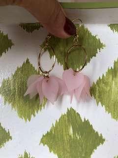 Pink flower hoops
