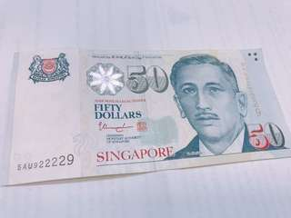Authentic Money Seed / Start 9 End 9 - Lucky Number Notes / Singapore Notes / $50