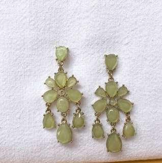 Forever 21 green chandelier earrings