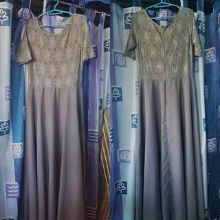 GRAY GOWN WITH SLEEVES *USED ONLY ONCE*