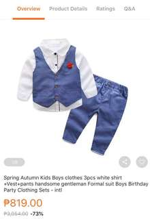Formal Baby Boy Attire bought with Lazada