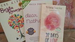Tere Liye - Berjuta Rasanya ; Yolana Ivanka - 31st Days of Love ; Erisca Febriani - Dear Nathan