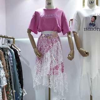 🚚 052514(F)韓國東大門 T恤配蕾絲不規則葉邊魚尾洋裝
