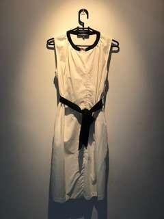 Off-white knee length dress with black belt