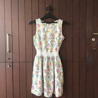 Atmosphere Floral Dress with Crochet Detail